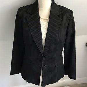 Tailored Anne Klein Pinstripe Stretch Blazer 12P